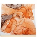 Coral and Shadow Grey Alcohol Ink Square