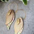 """""""Autumn Leaves"""" Genuine Leather Hoop Earrings, Gold"""