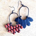 """Ashe"", Genuine Leather Earrings, Black/ Red"