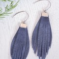 Fringed Suede Leather Earrings, Charcoal, Mint, Navy, Purple, Magenta