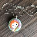 Handmade Glass Lampwork Doll Angel Glass Bead Sterling Silver