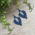 Russian Leaf macrame earring navy blue and gunmetal beads