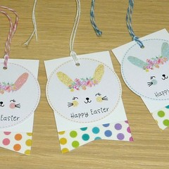 Easter Gift tags - set of 6 - cute bunny