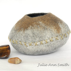 Small Sculpture - Textile Art - Desktop Art - Wool Felt Vessel - Natures Bowl