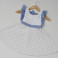 White/Blue Floral Vintage Country Style Dress - Girls  Size 4