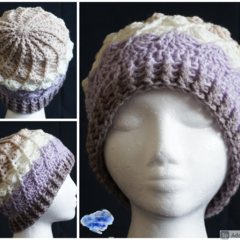 Crochet Beanie in shades of purple and taupe with all around shells design