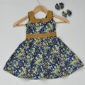 Mustard/Navy Floral Vintage Country Style Dress - Girls  Size 2