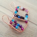 Handmade copper wire wrapped earrings with agate gemstones