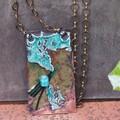 Green Fragments - copper enamel  pendant
