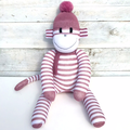 'Chelsea' the Sock Monkey - dusty purple and white stripes - *MADE TO ORDER*