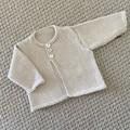 Neutral Cream Cardigan  - Newborn - pure wool - Hand knitted
