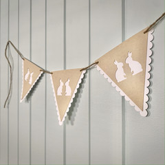 Bunting - Two Cute Easter Bunnies - Kraft and White Paper on Jute String