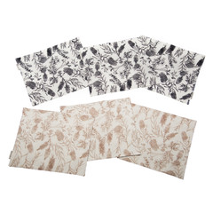 Australian native reversible placemat - NATIVE FLORA - BLACK/BEIGE