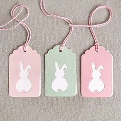 Set of 3 Bunny Gift Tags Pink & Green with Scalloped Top