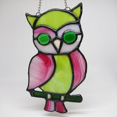 Owl About Colour // Owl Stained Glass Suncatcher 17x10cm