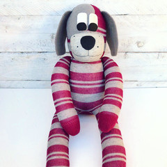 'Della' the Sock Dog - maroon and grey stripes  - *MADE TO ORDER*