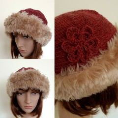 Brown crochet winter hat with faux fur trim