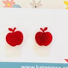 Apple studs - Red Apples - Fruit studs - acrylic red glitter apple studs - apple