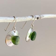 Sea glass domed earrings