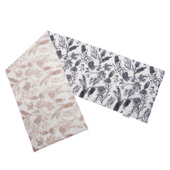 Australian native reversible table runner - NATIVE FLORA - BLACK/BEIGE