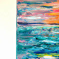 'Sail, My Friend' Abstract Sunset seascape acrylic painting on canvas
