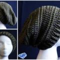 Unisex Adult handmade crochet Slouchy beanie in the green brown khaki colours