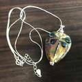 Handmade Glass Lampwork Ocean Dragonfly Bead Sterling Silver Necklace OOAK