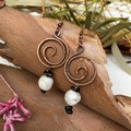 Howlite and Black Tourmaline Spiral Earrings