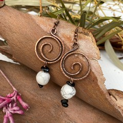 Howlite and Black Tourmaline Spiral Earrings