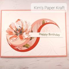 Happy Birthday Swirls Pink flower