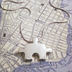 Puzzle - Handmade Sterling Silver Jigsaw Pendant with Snake Chain