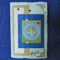 Pisces Girl Birthday Card on Pale Green Handmade Paper