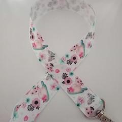 Pretty blue and pink pastel bird print lanyard / ID holder / badge holder