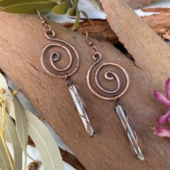 Clear Quartz Spiral Earrings
