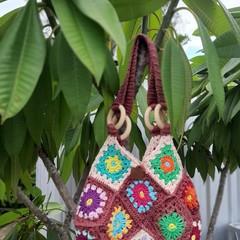 Crochet Handbag, Bag, Messenger, Retro