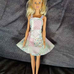 Barbie doll dress - pastel patchwork print