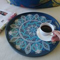 Sky blue Ottoman coffee table tray, Personalised Wedding anniversary gift