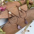 Moonstone and Amethyst Crescent Moon Earrings