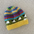 Yellow Sheep  Beanie - to fit approx size 1-3 years -hand knitted