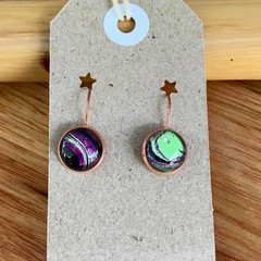 Hand Painted Glass Cabochon Earrings