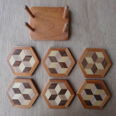 Set of 6  Hexagonal Wooden Coasters with Stand