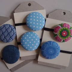 Button Hair Elastic Hair Tie Pack of 2  - Blue Paisley Choice of 3 Options