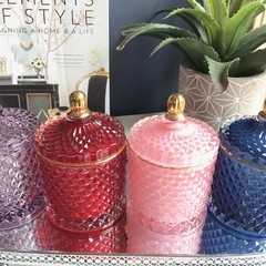 Grand Sale: Luxury Soy Candle | Geo Cut Glass Jar - 7 Styles | Highly Scented