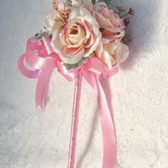 Flower Girl Floral Wand - Pink Rosebud Wand for Flowergirl, Wedding Flowers