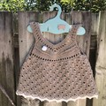 Crochet 100% Cotton Baby Girl Boho Vintage Dress,handmade 💕 Size 6-12 months