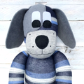 'Desmond' the Sock Dog - grey white navy & denim blue stripes - *READY TO POST*