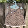Crochet 100% Cotton , Dress, Boho, Vintage Size 12-18 months