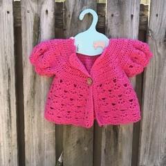 Crochet Toddler Hot Pink Short Sleeve Jacket, 100%Cotton