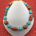 Nepalese Turquoise and Coral Bead Bracelet