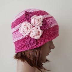 Women multi stripe pink beanie with crochet flowers